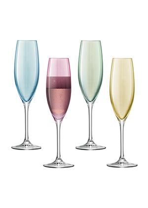 бокал для шампанского POLKA, сет 4 шт. разных цветов